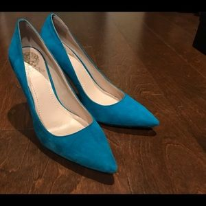 Vince Camuto Turquoise Suede Pumps